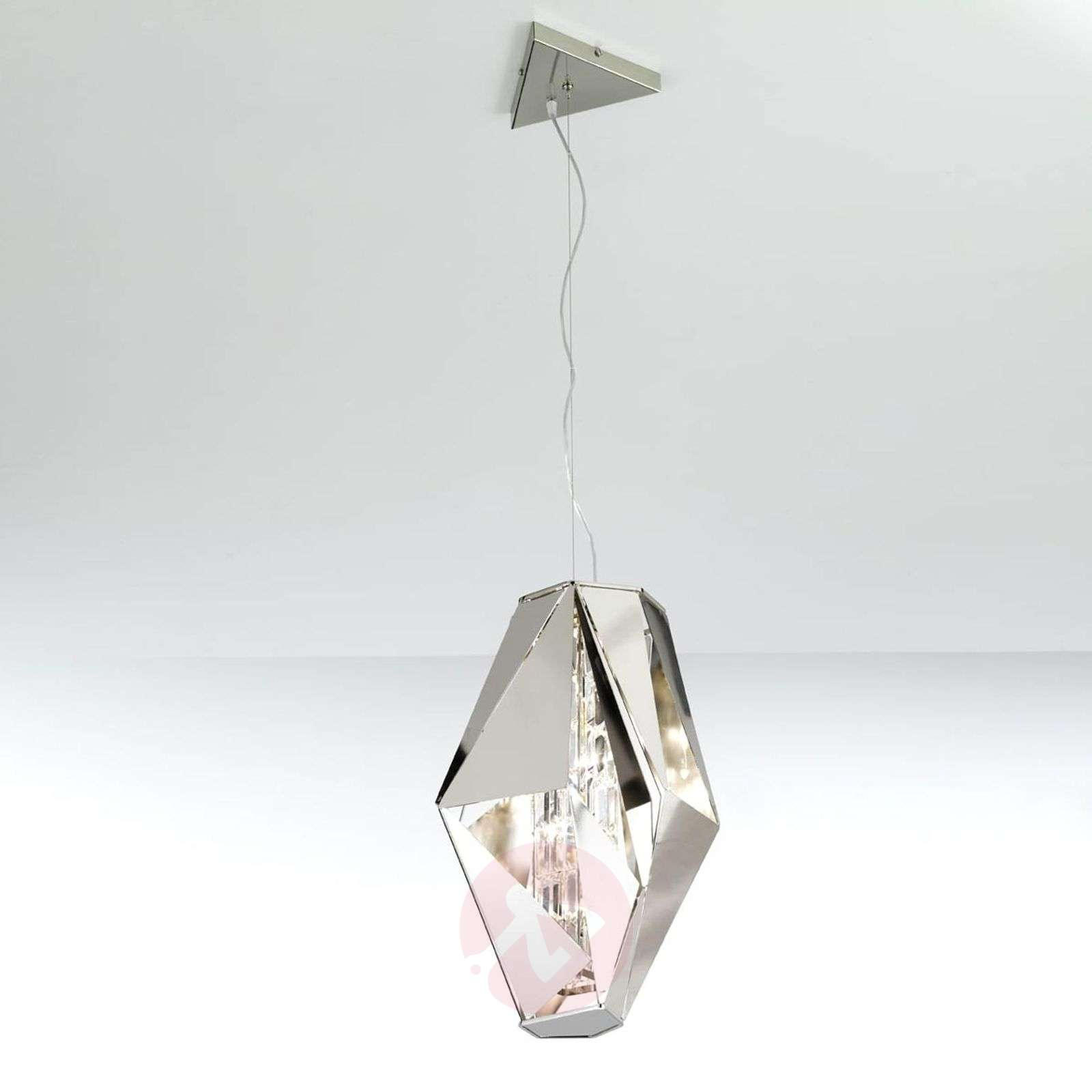Imposante design-hanglamp Crystal Rock, staal-5016257-01