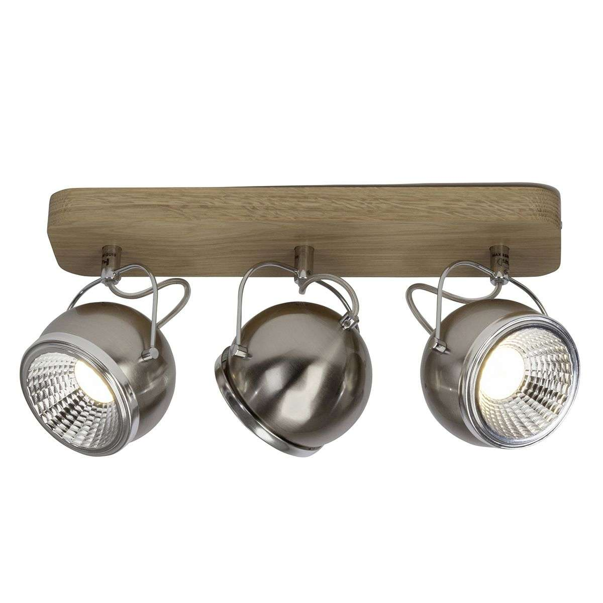 Drieflammige LED plafondspots Tribe met hout-1509187-31