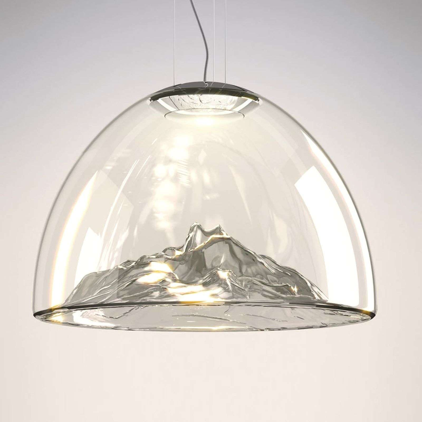 Axolight Mountain View - LED hanglamp grijs-chroom