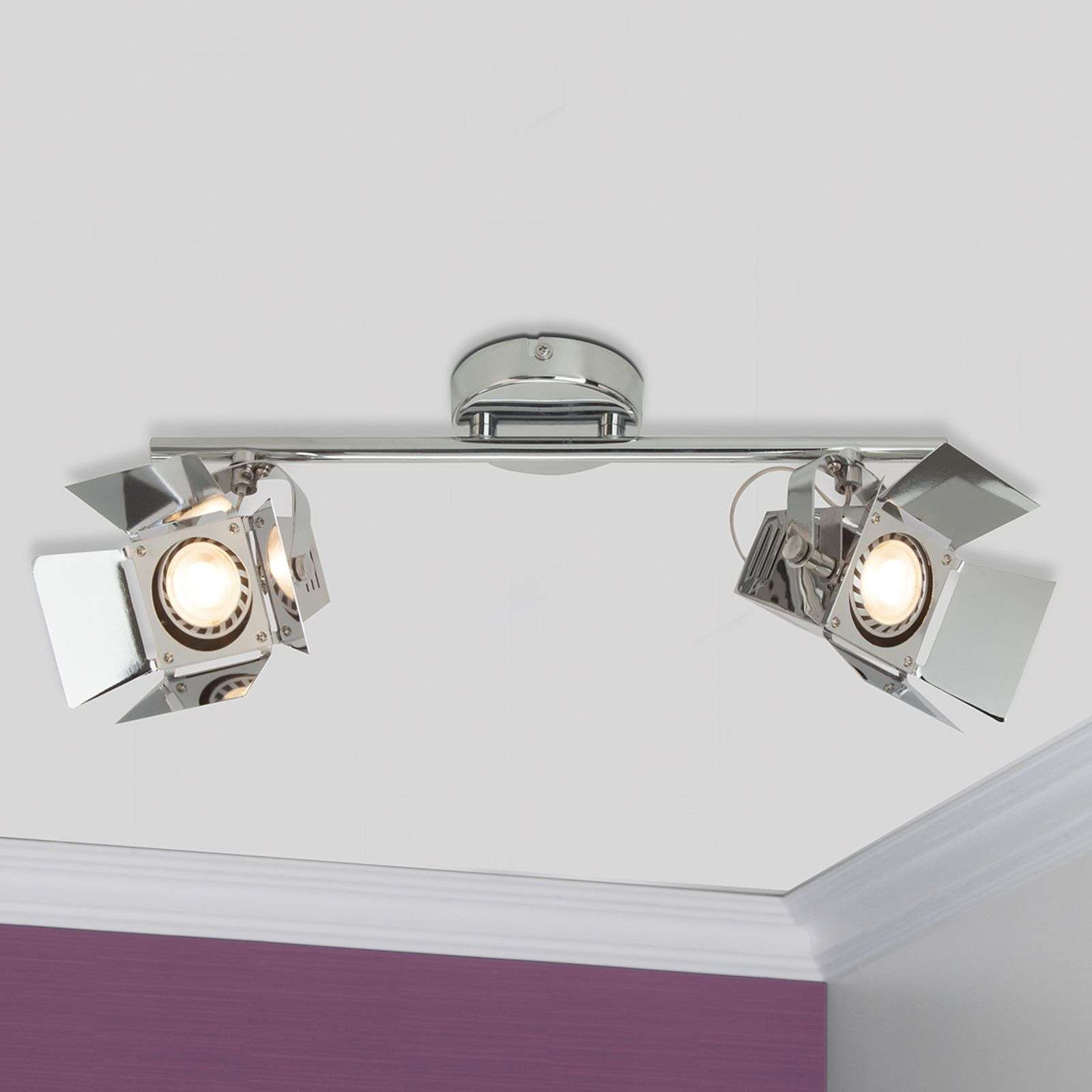 2-lamps LED spot plafondlamp Movie, chroom