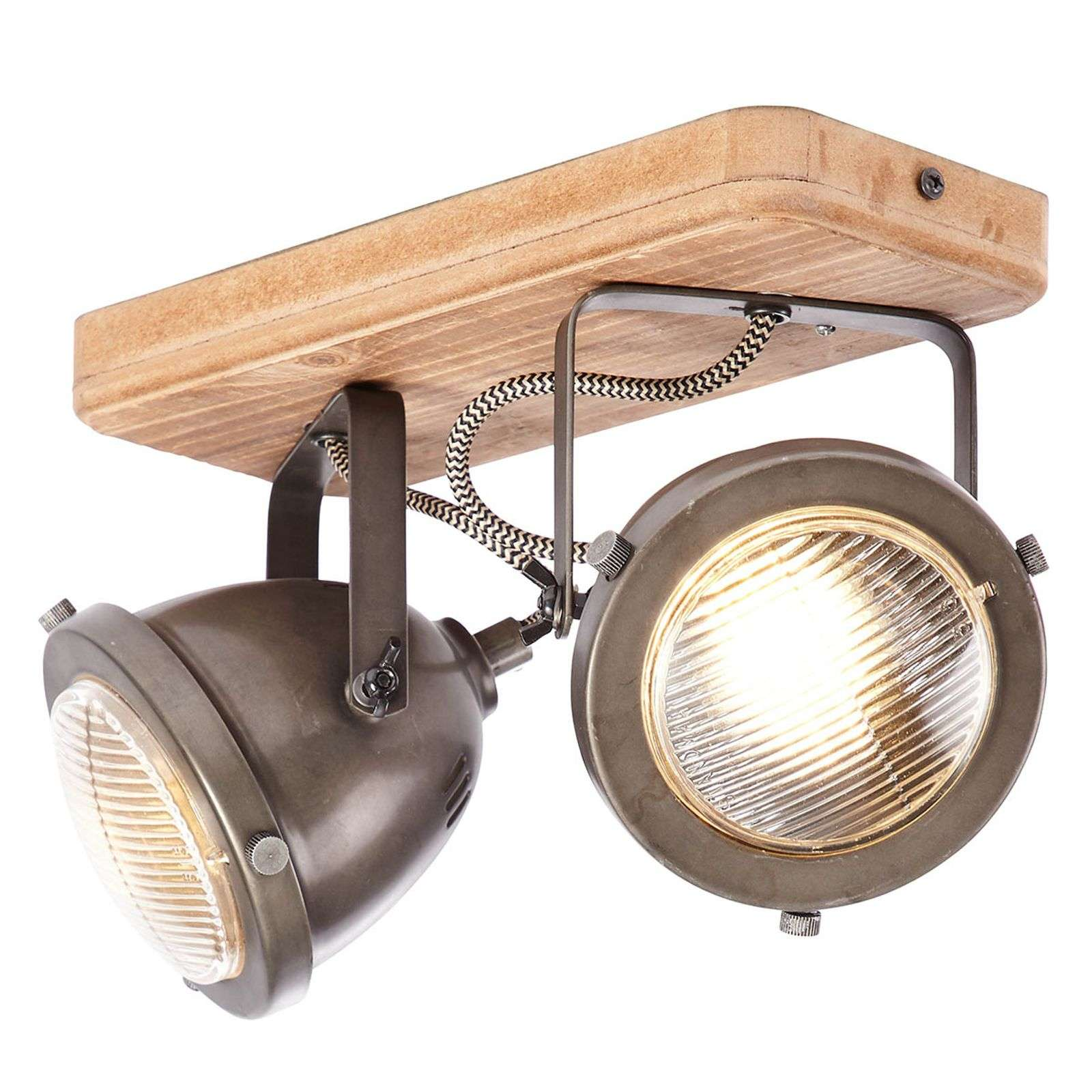 Carmen Wood - plafondlamp in industriel 2 lampjes