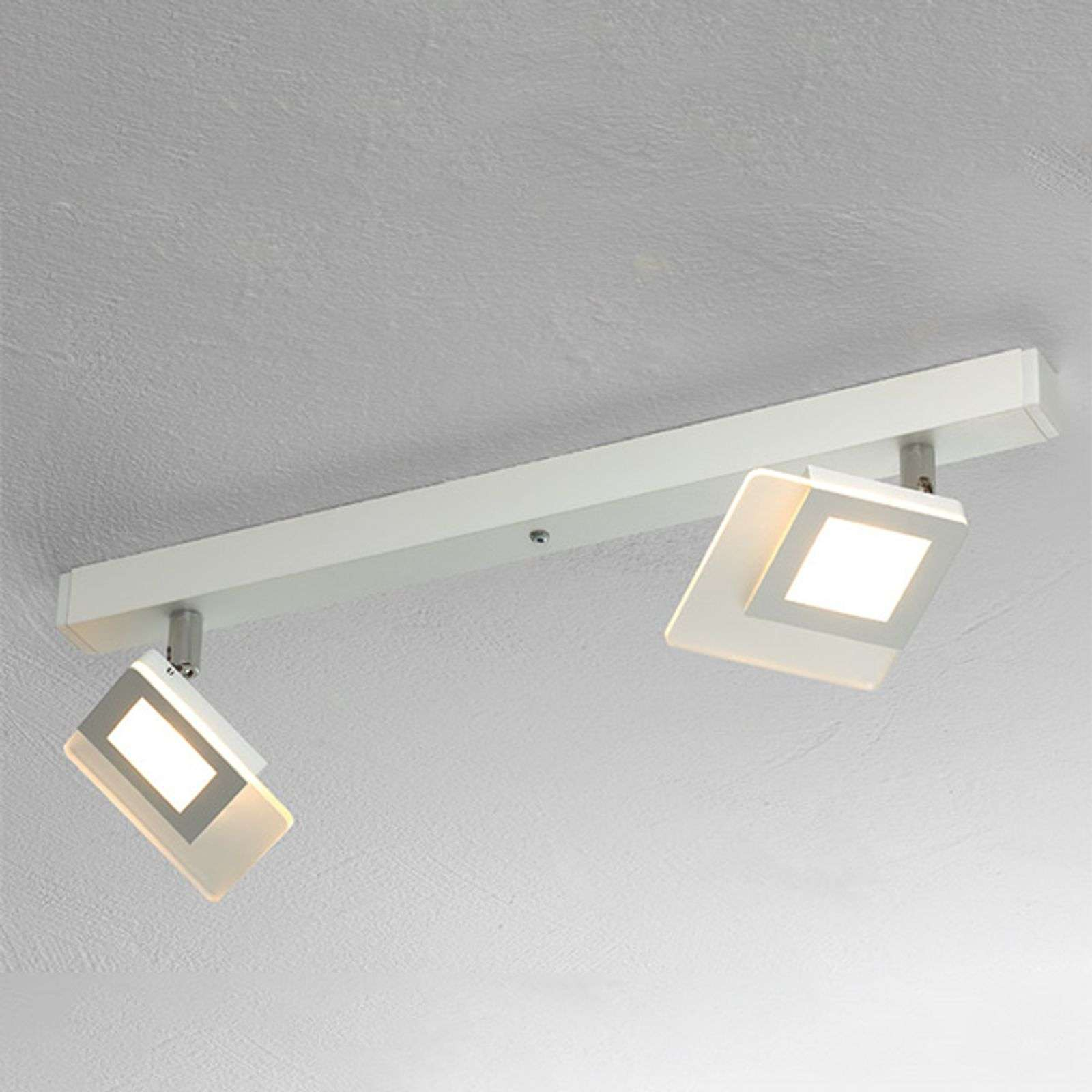 Mooie LED-plafondlamp Line in wit, 2-l.