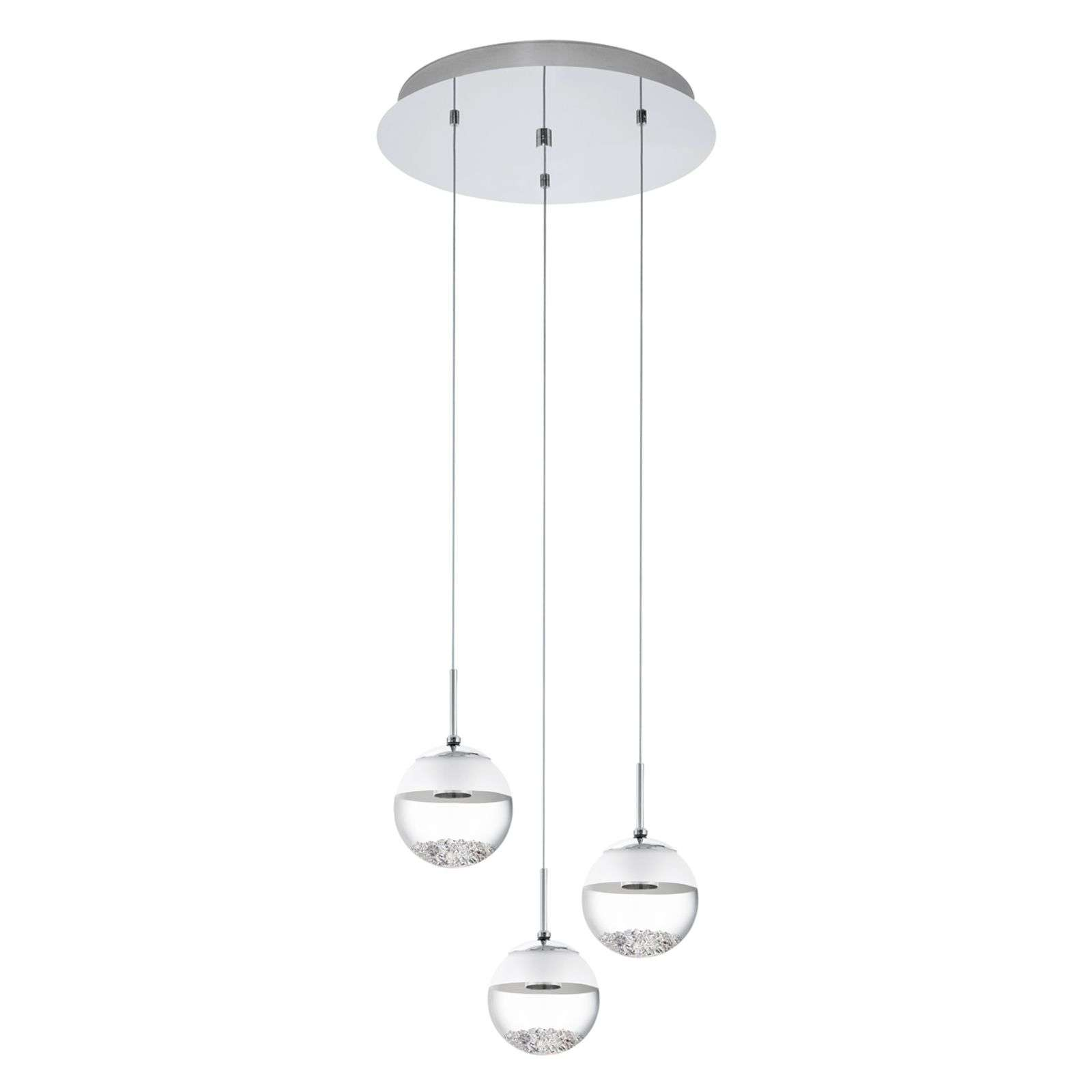 Ronde LED hanglamp Montefio in kristal 3 lichtbr.