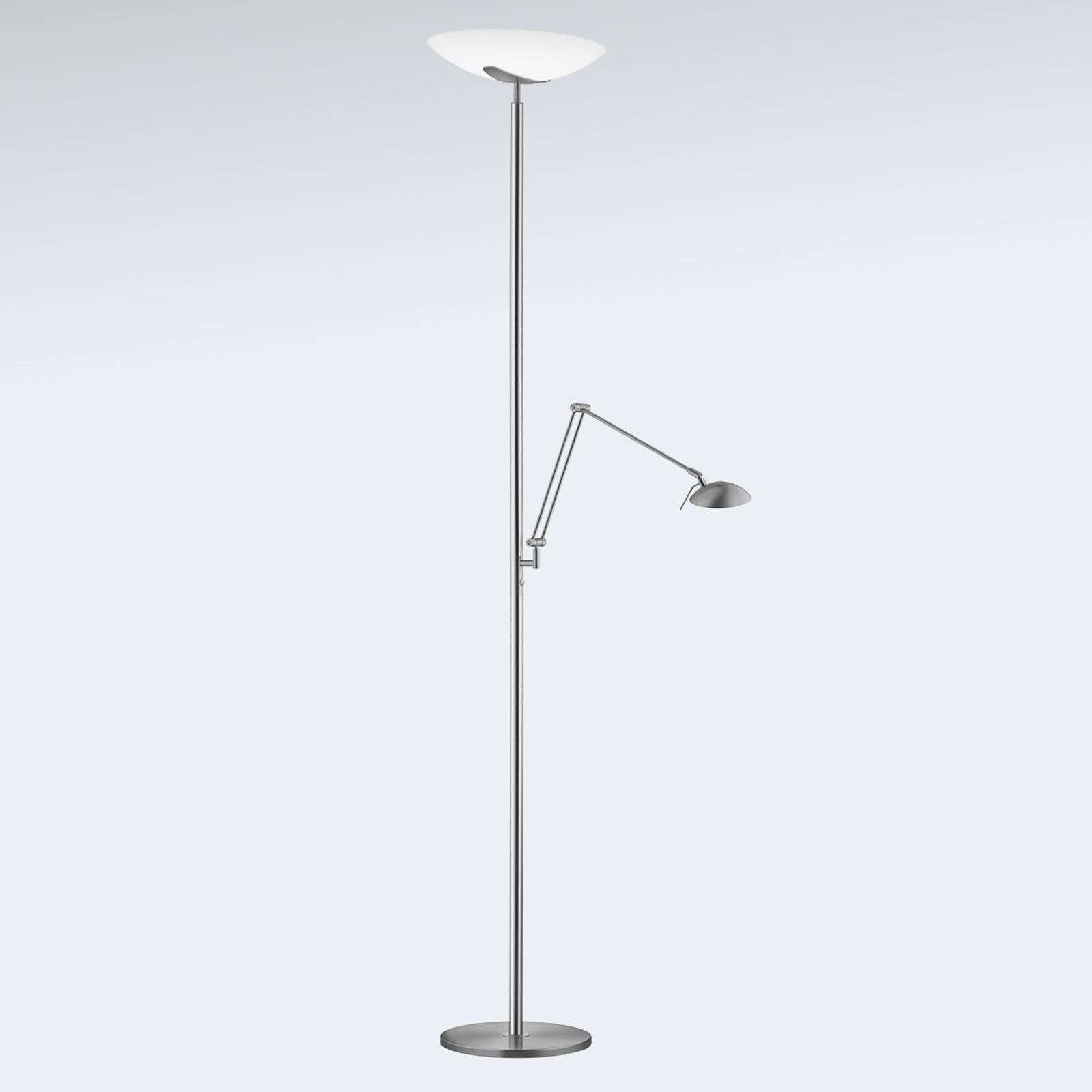 LED uplighter Lya met leeslamp in nikkel-chroom