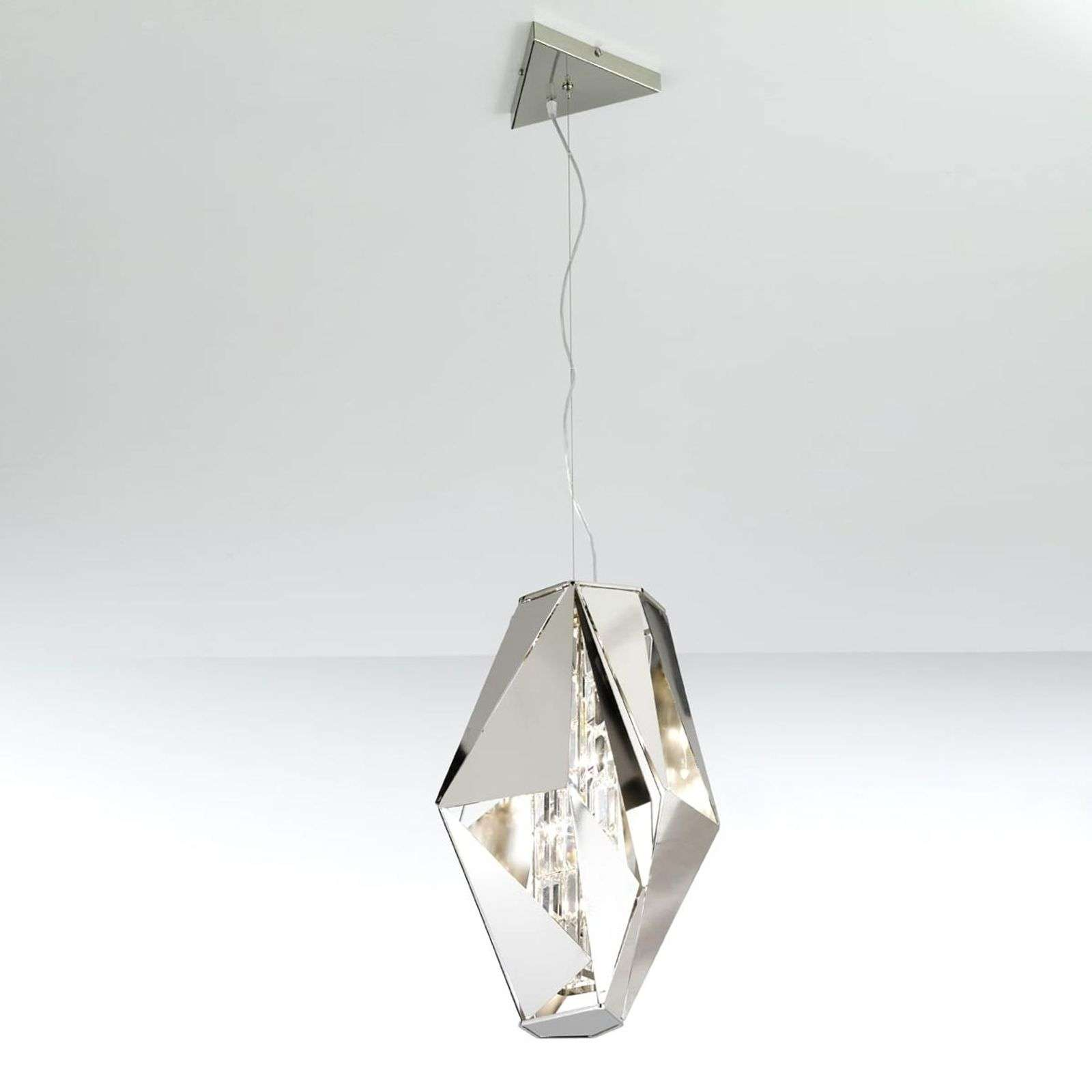 Imposante design-hanglamp Crystal Rock, staal