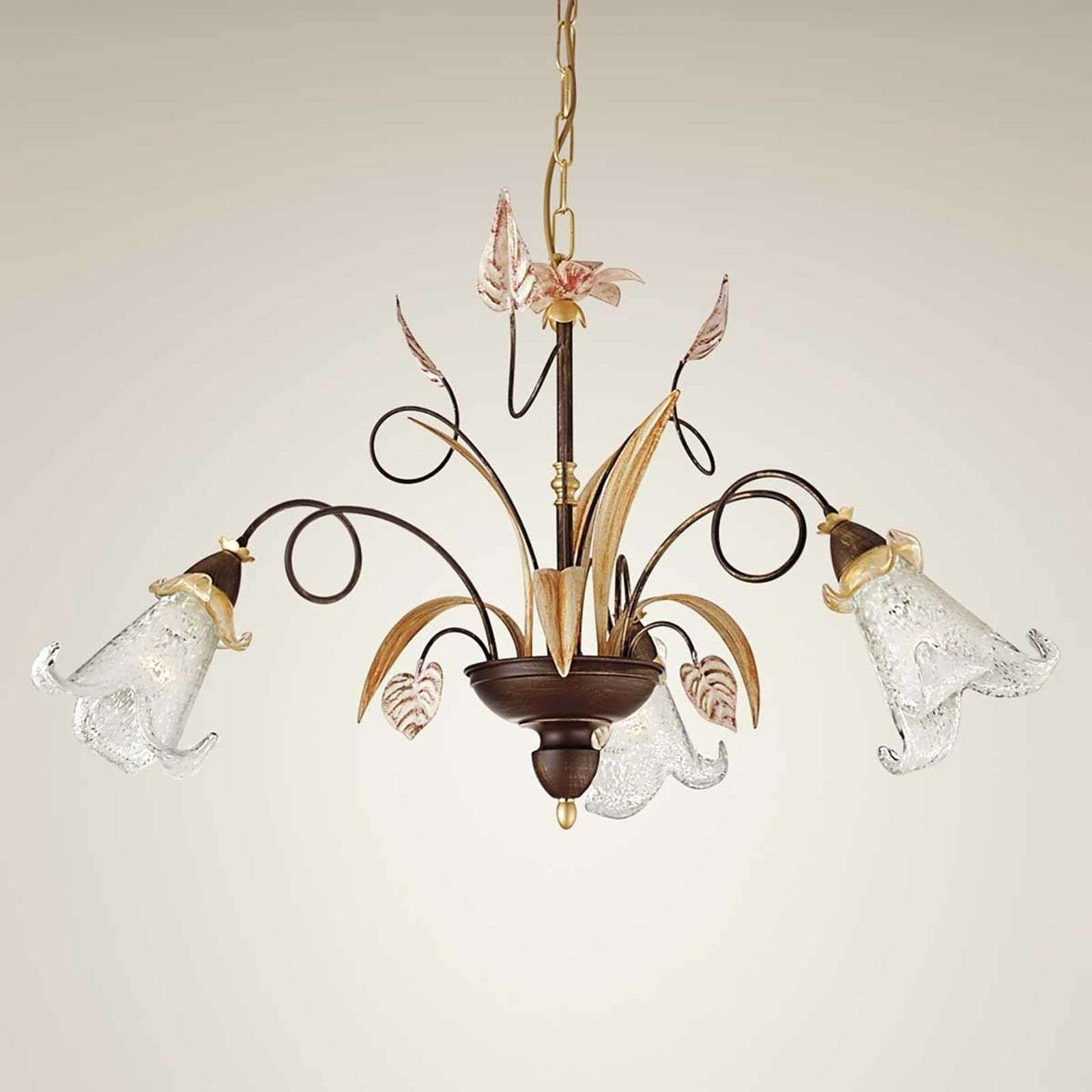 Florale hanglamp Giuseppe, 3-lichts