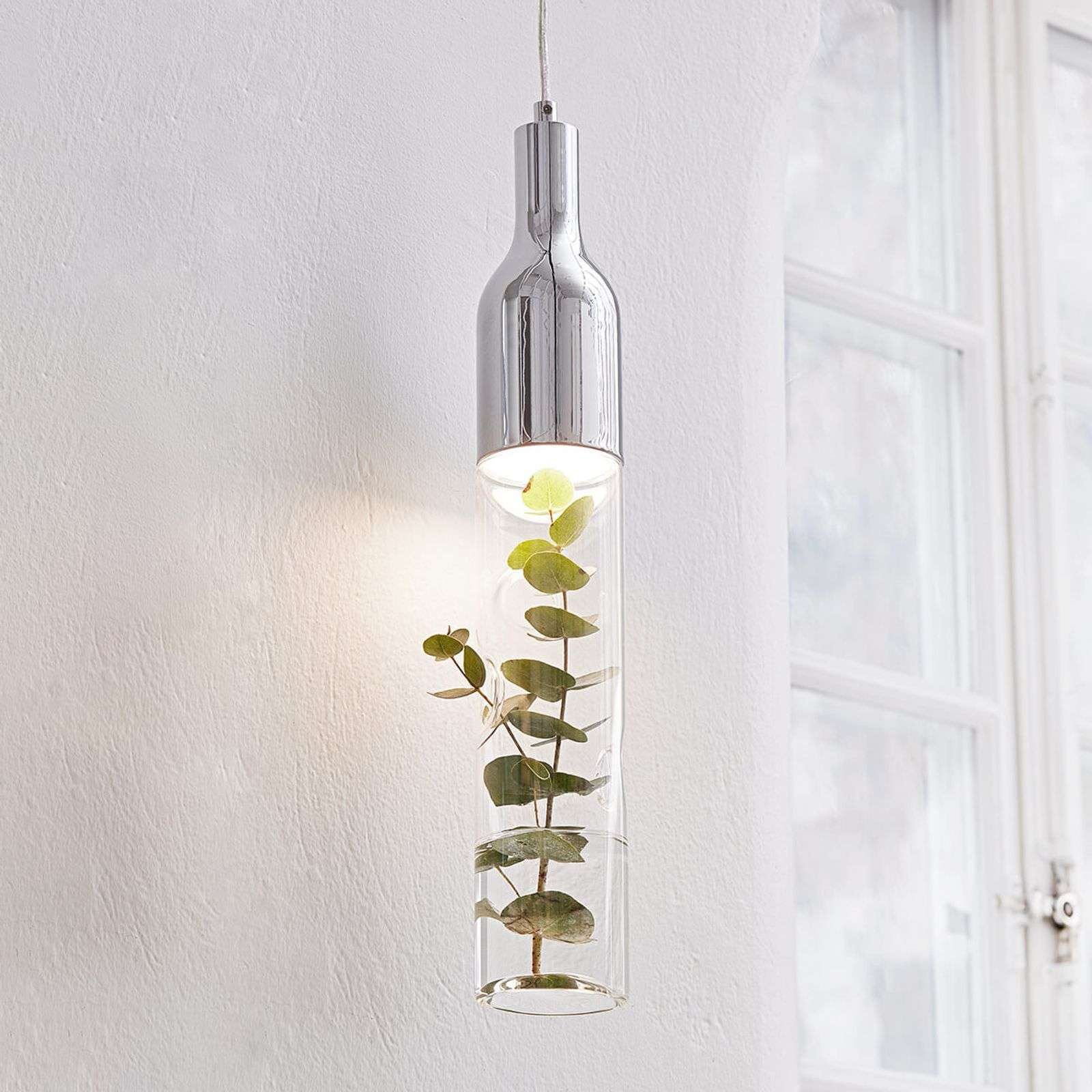Decoratieve glazen hanglamp Bottle m.LED lamp