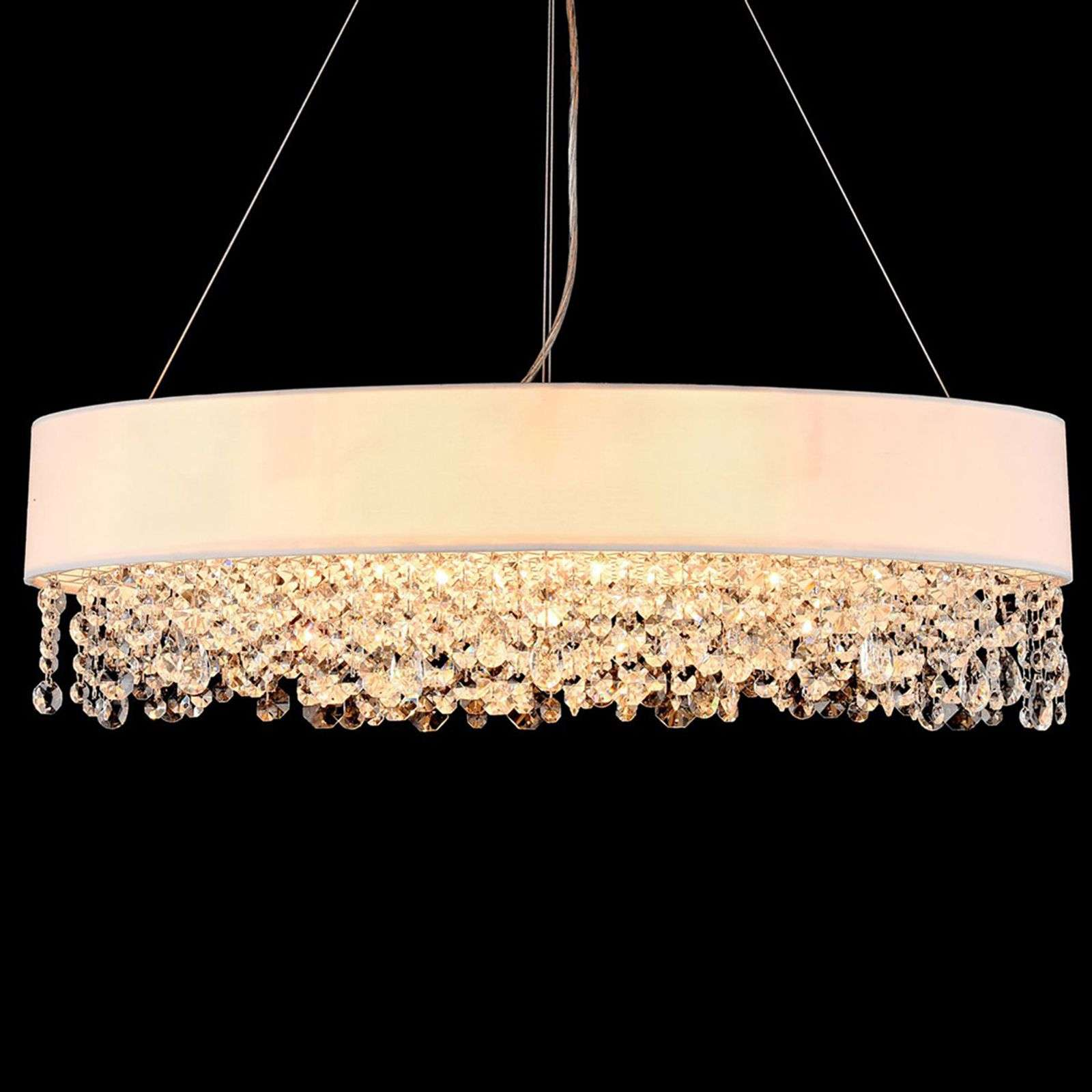 Ovale Textiel hanglamp Manfred