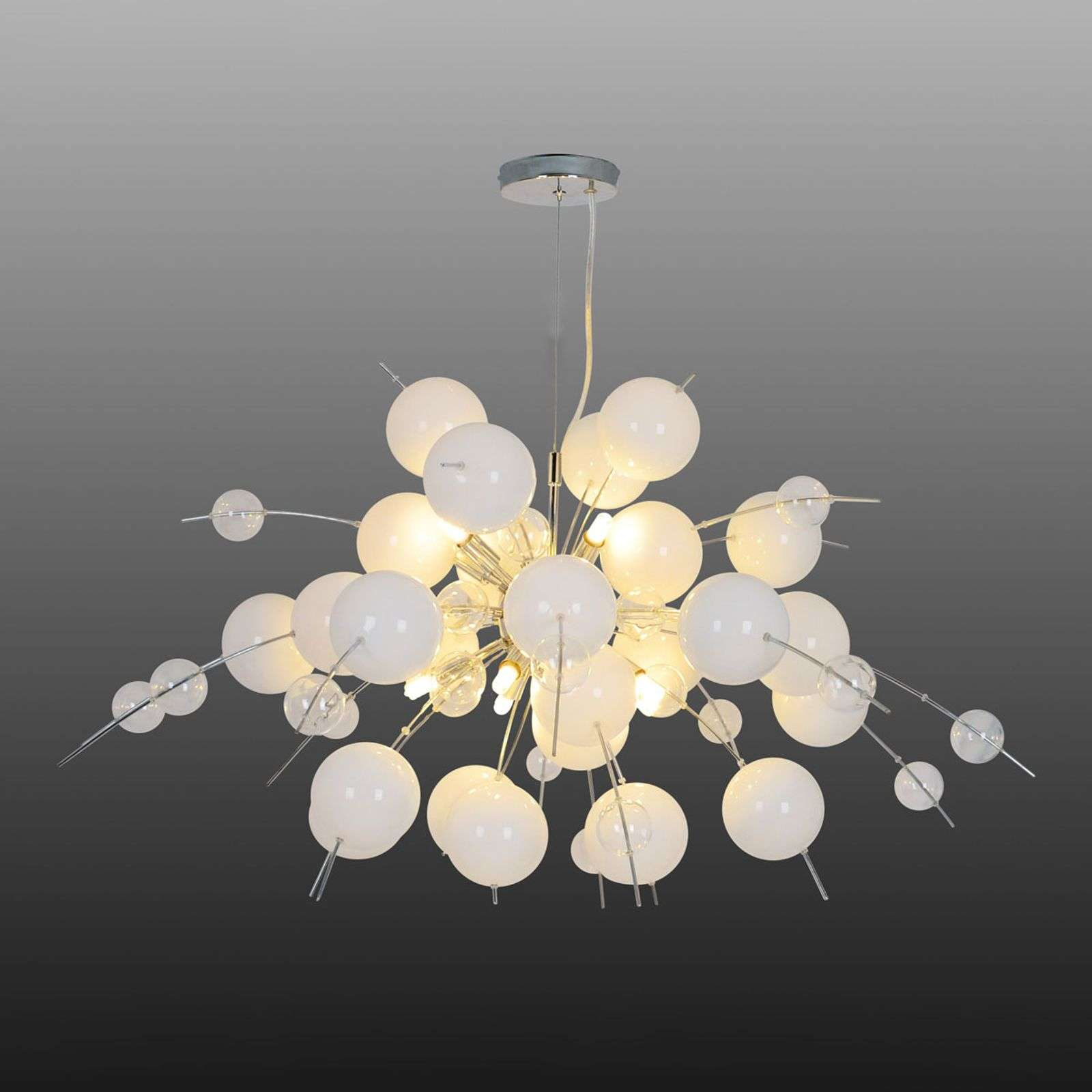 Hanglamp Explosion in wit/chroom 98cm