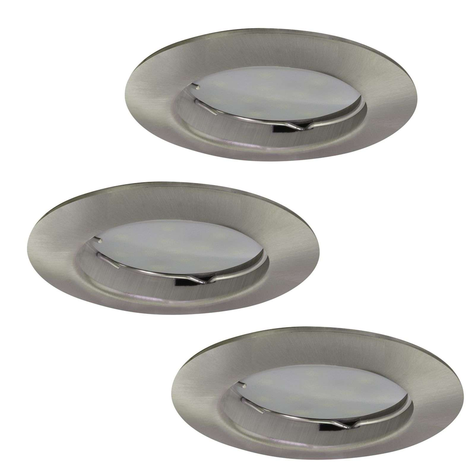 Set vn 3 LED inbouwspots Downlight DIM Flat nikkel