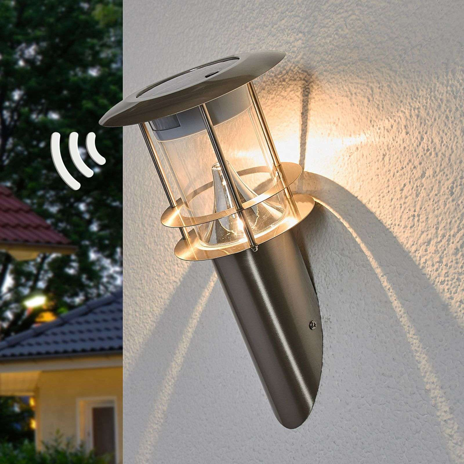 LED solar wandlamp Brush met sensor