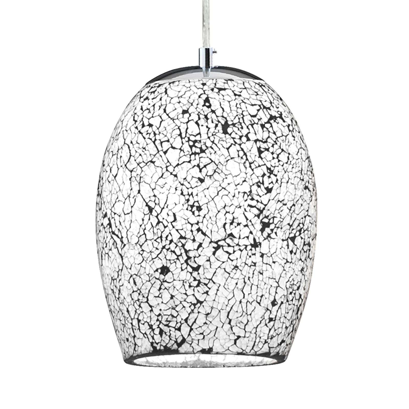 Witte chroom hanglamp Crackle