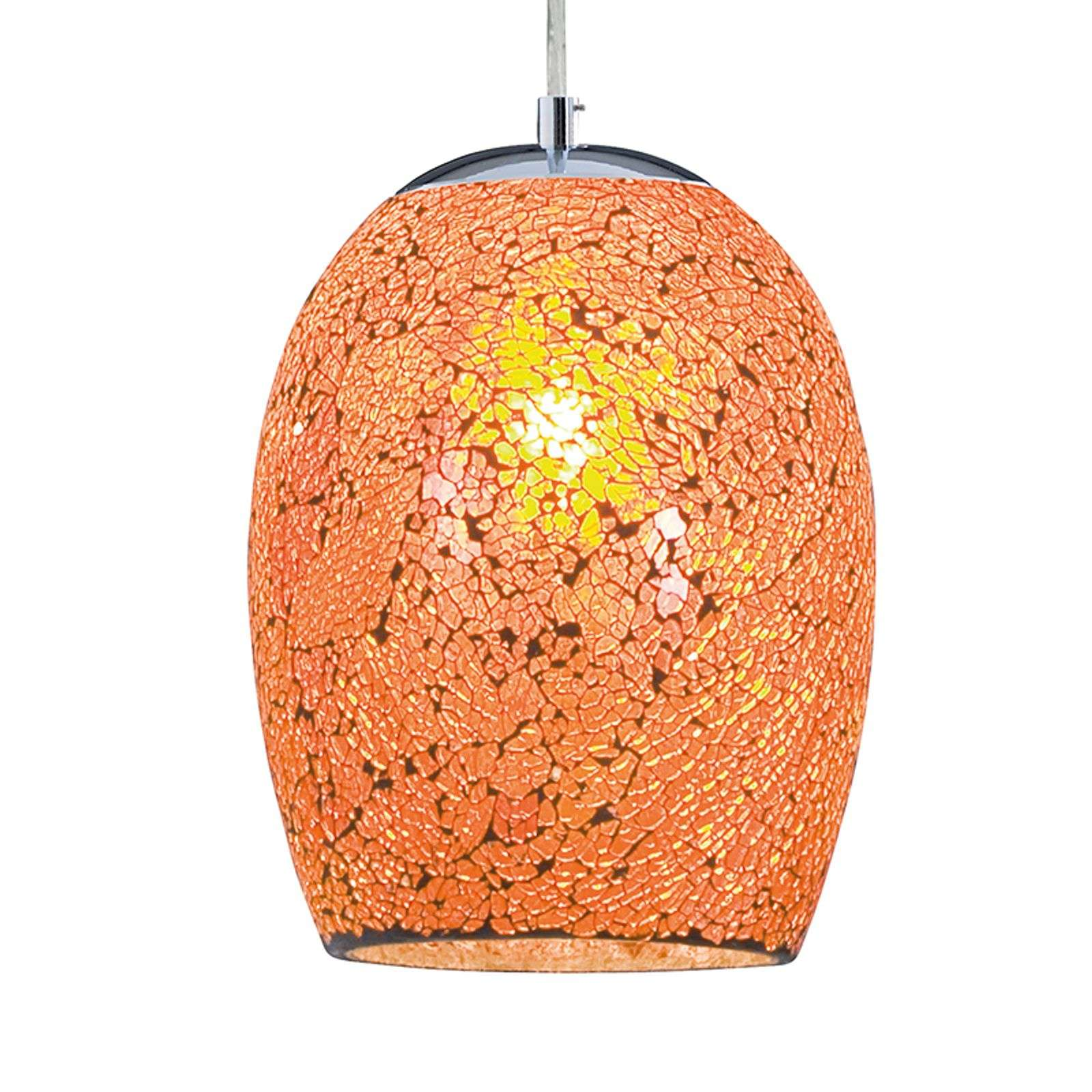 Hanglamp Crackle in oranje chroom