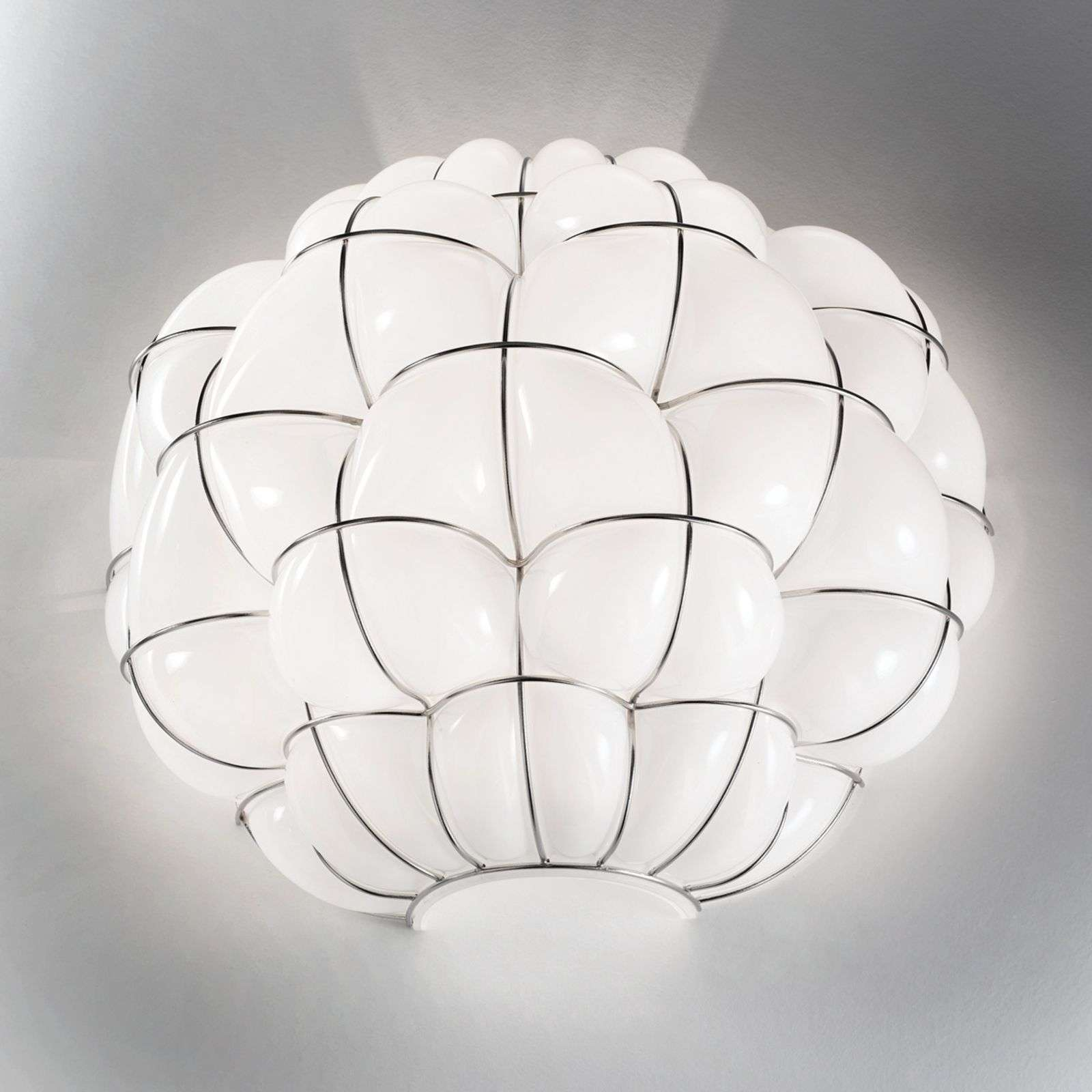 Wandlamp Pouff in wit, roestvrij staal
