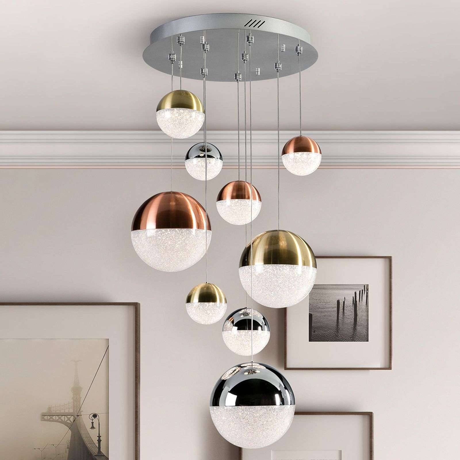 LED hanglamp met 9 lampjes, multicolour