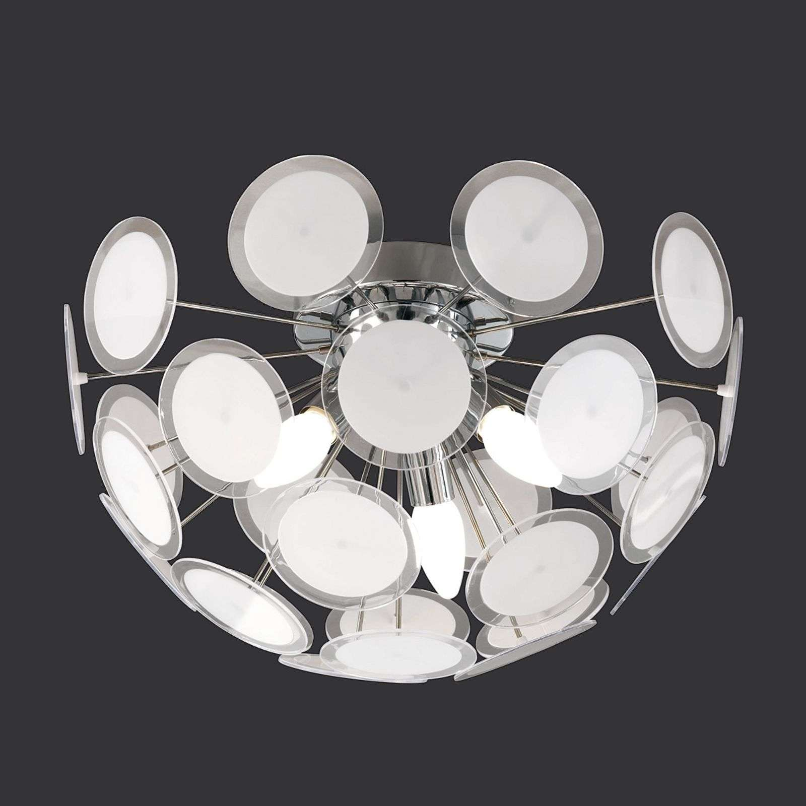 Originele plafondlamp Circle, wit-chroom
