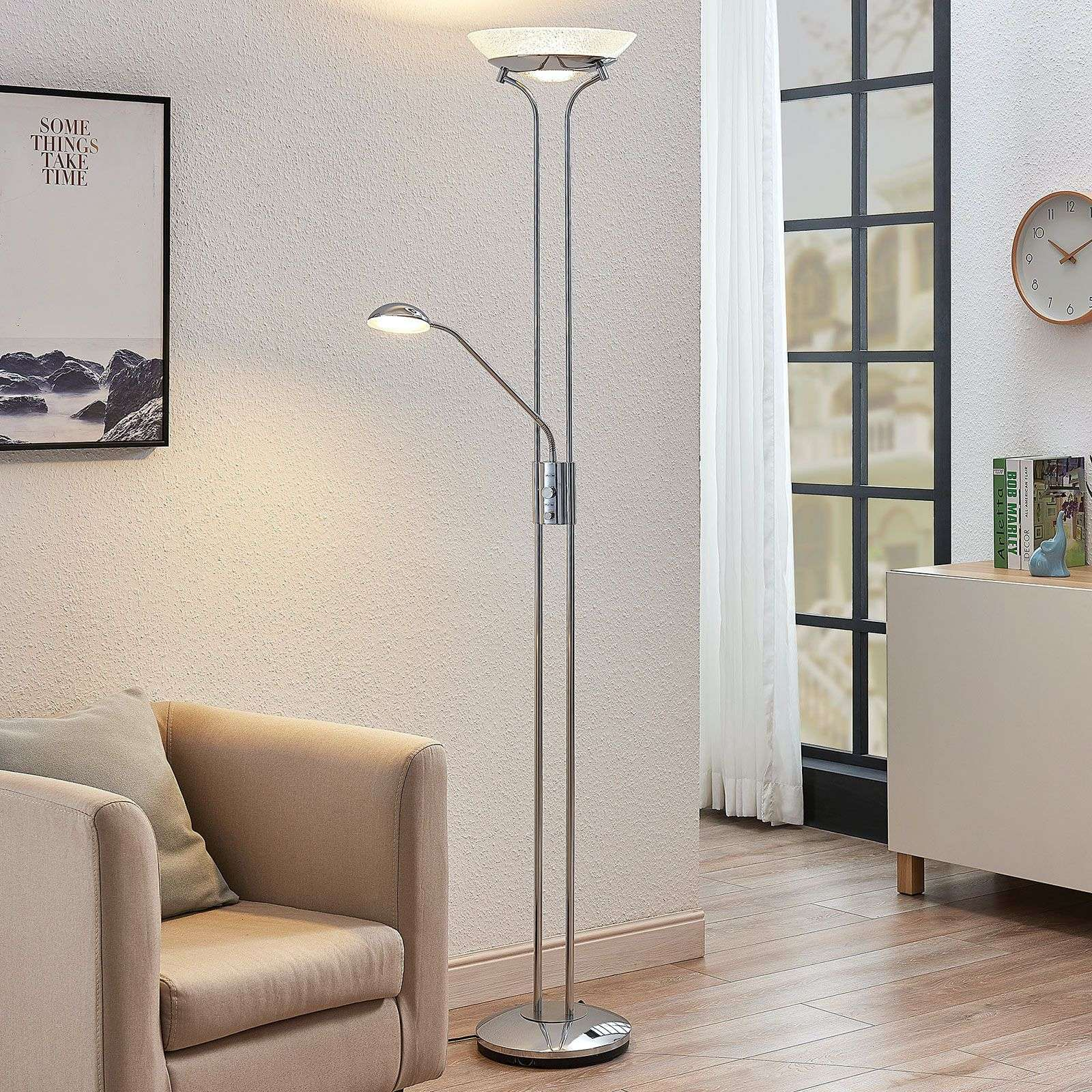 LED uplighter Dimitra m. leeslamp, chroom
