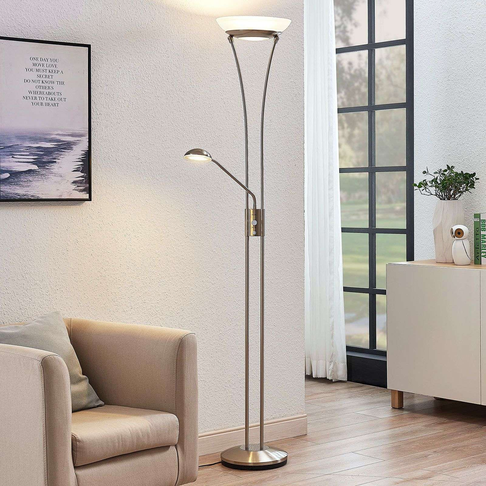 LED uplighter Amadou m. leeslamp, nikkel