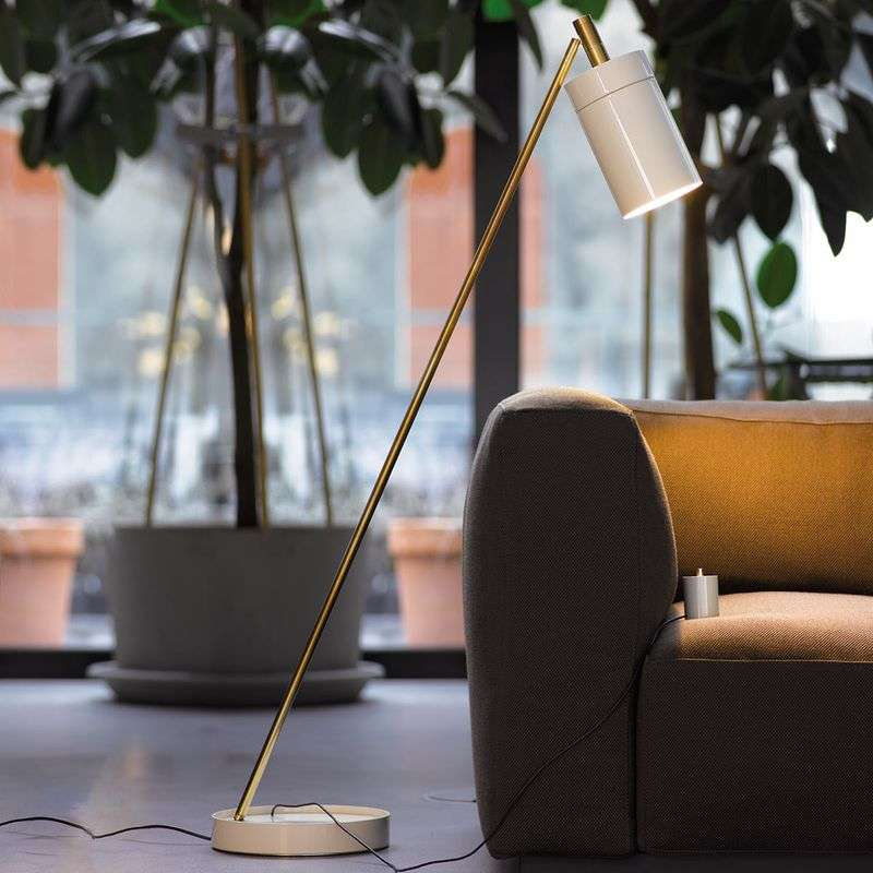 Design LED vloerlamp Nobu, messing-wit