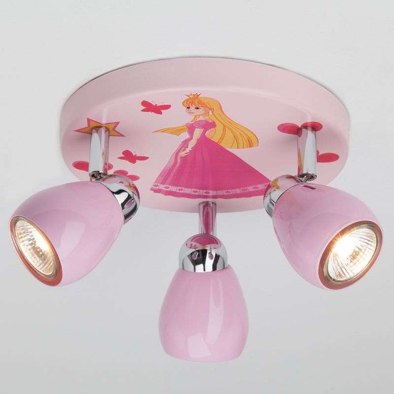 Rozekleurige LED plafondlamp Princess, 3-lamps