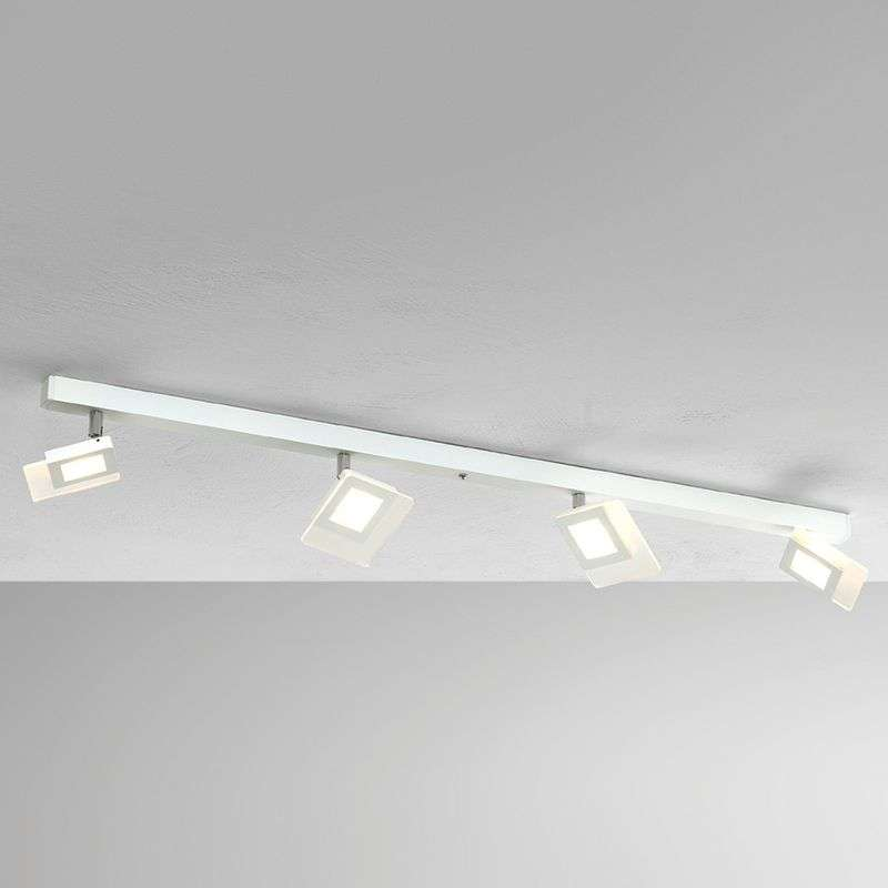Vierlamps LED-plafondlamp Line, wit