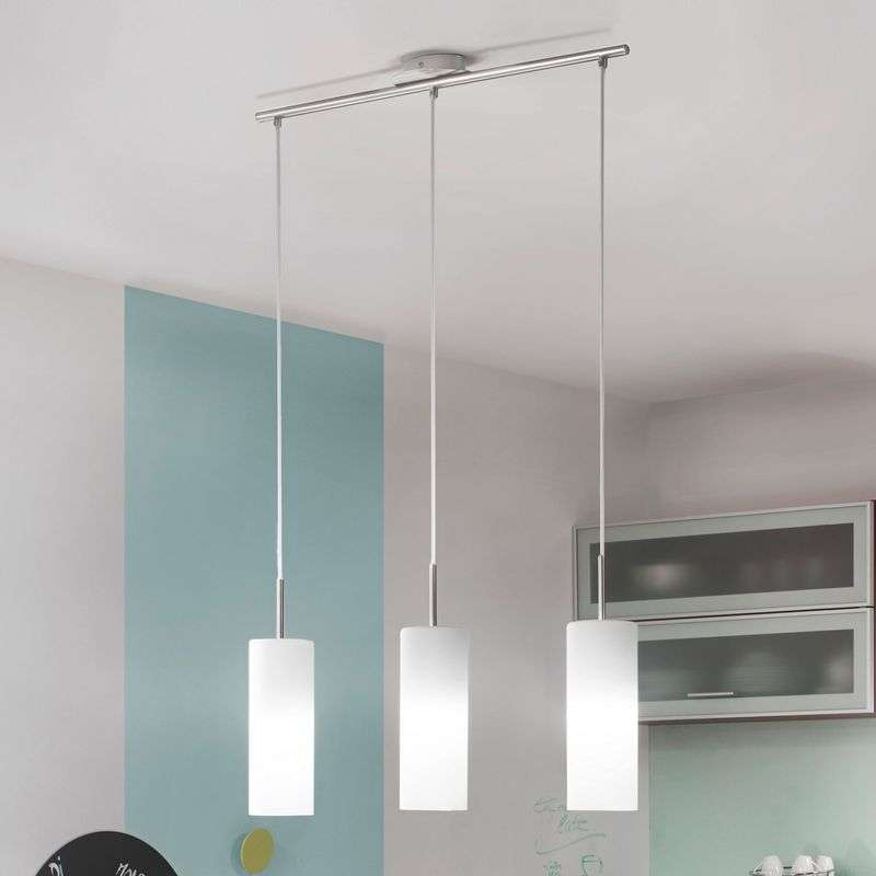 Drie-lichts hanglamp TROY wit
