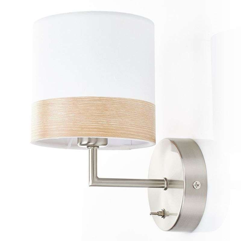 Mooie stoffen wandlamp Libba in crème-hout