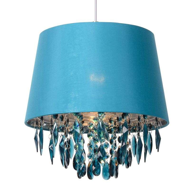 Turquoise hanglamp Dolti met acryl ophangingen