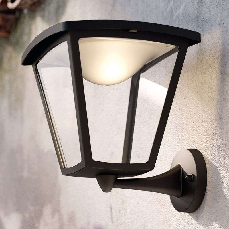 Zwarte LED outdoor wandlamp Cottage