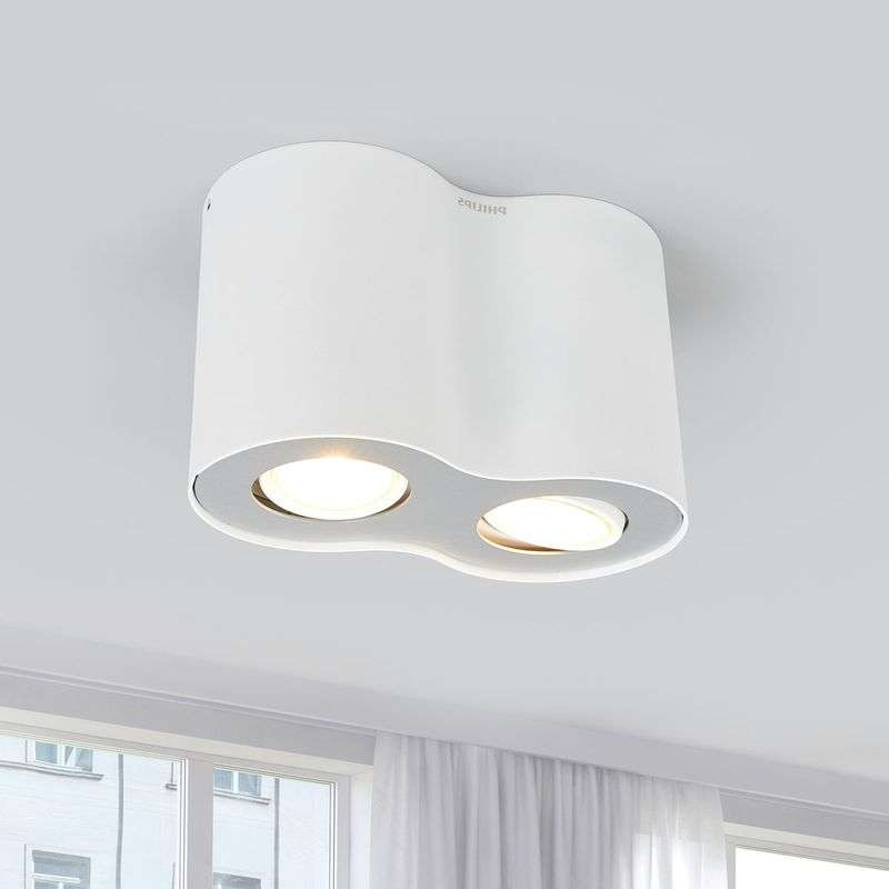 2-Spots LED opbouwplafondlamp Pillar in wit