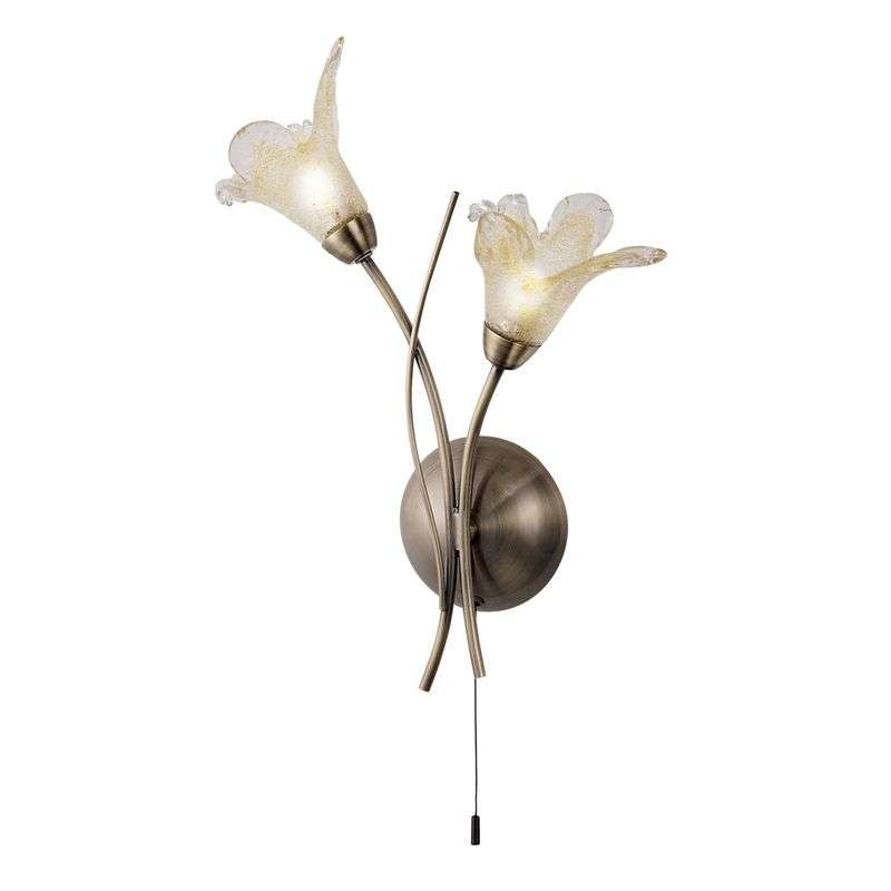 LILY - toverachtige wandlamp, oud-messing