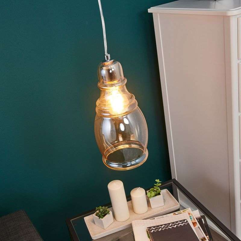 Cognackleurige hanglamp Olsson in vintage look