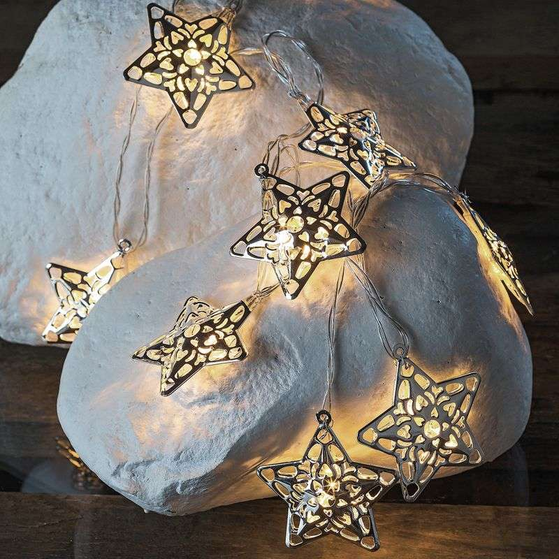Stralend mooie LED-lichtketting Emily Star zilver