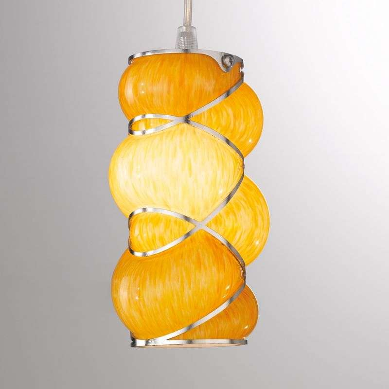 Hanglamp Orione, amber, roestvrij stalen strips