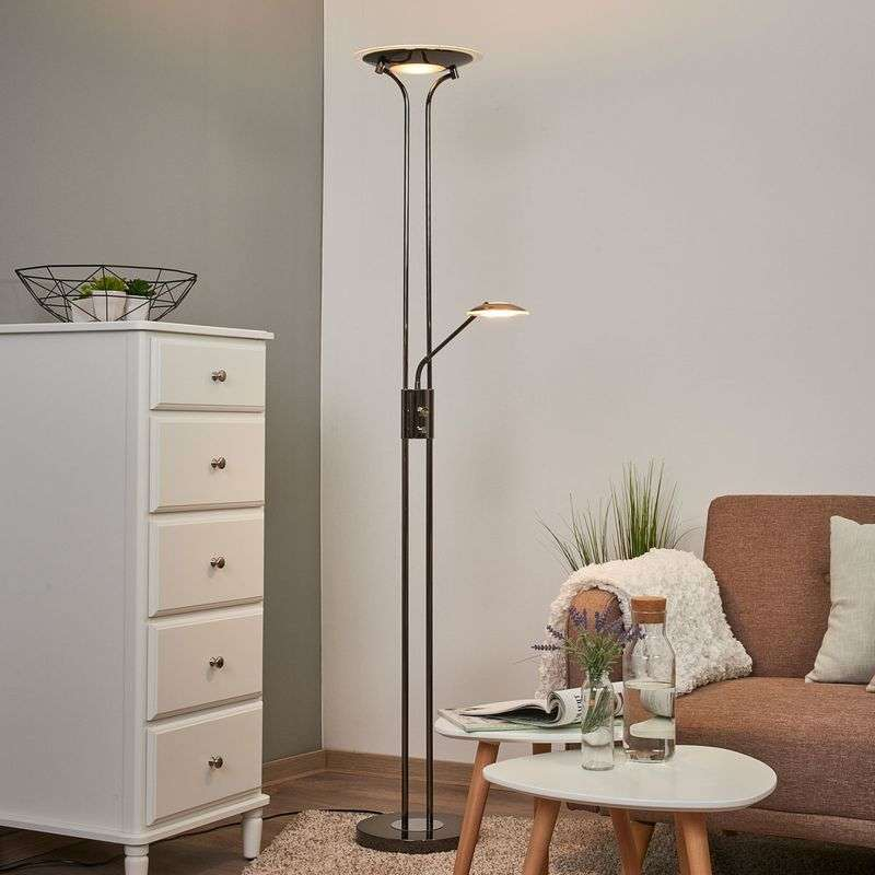Glanzende LED uplighter Aras, zwart chroom