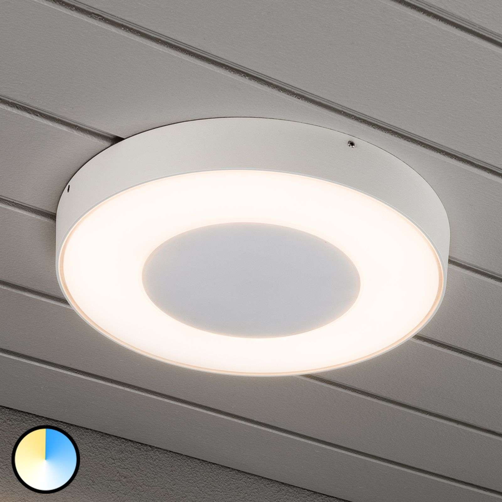 Ronde led buitenplafondlamp Carrara in wit