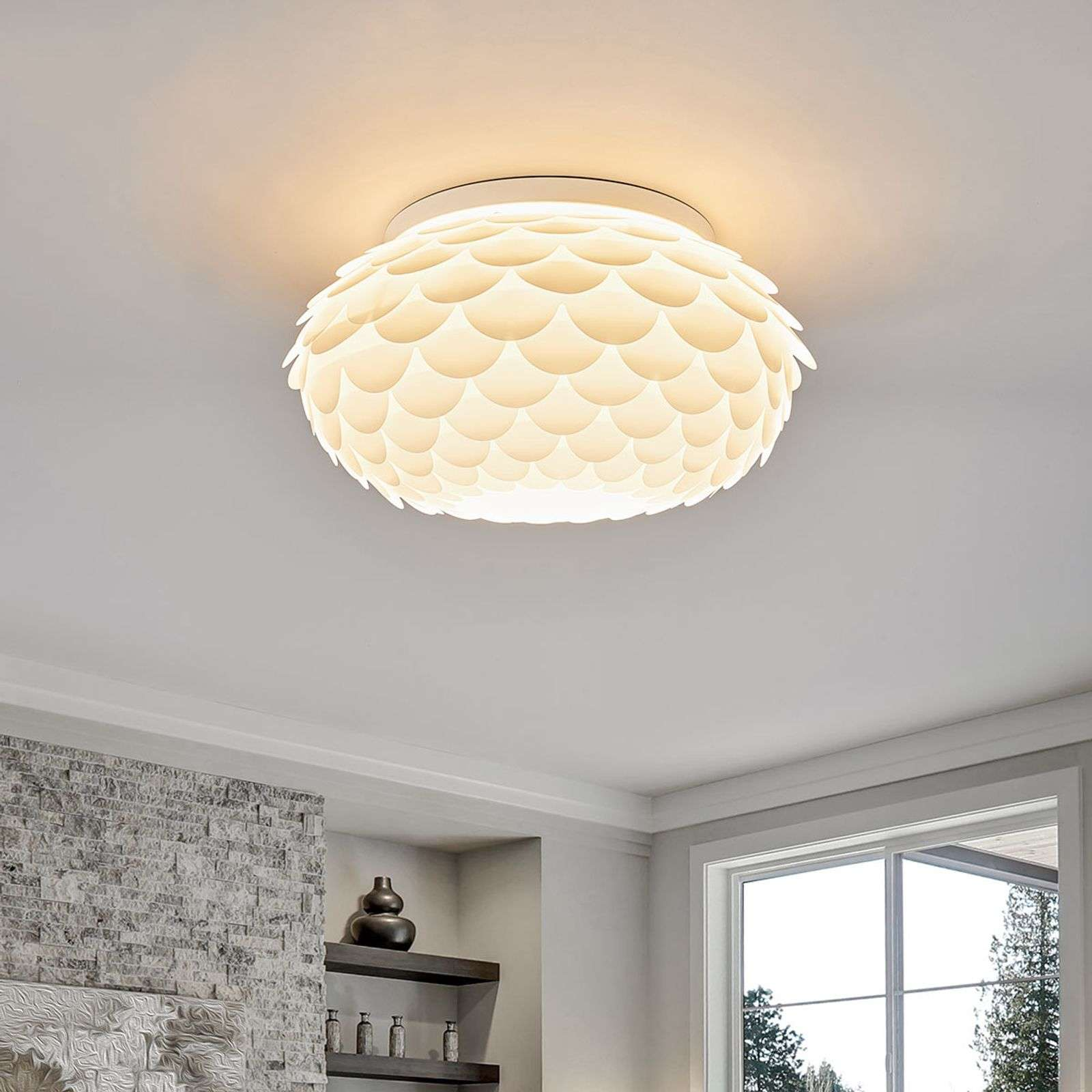 Plafondlamp Marees in wit, rond