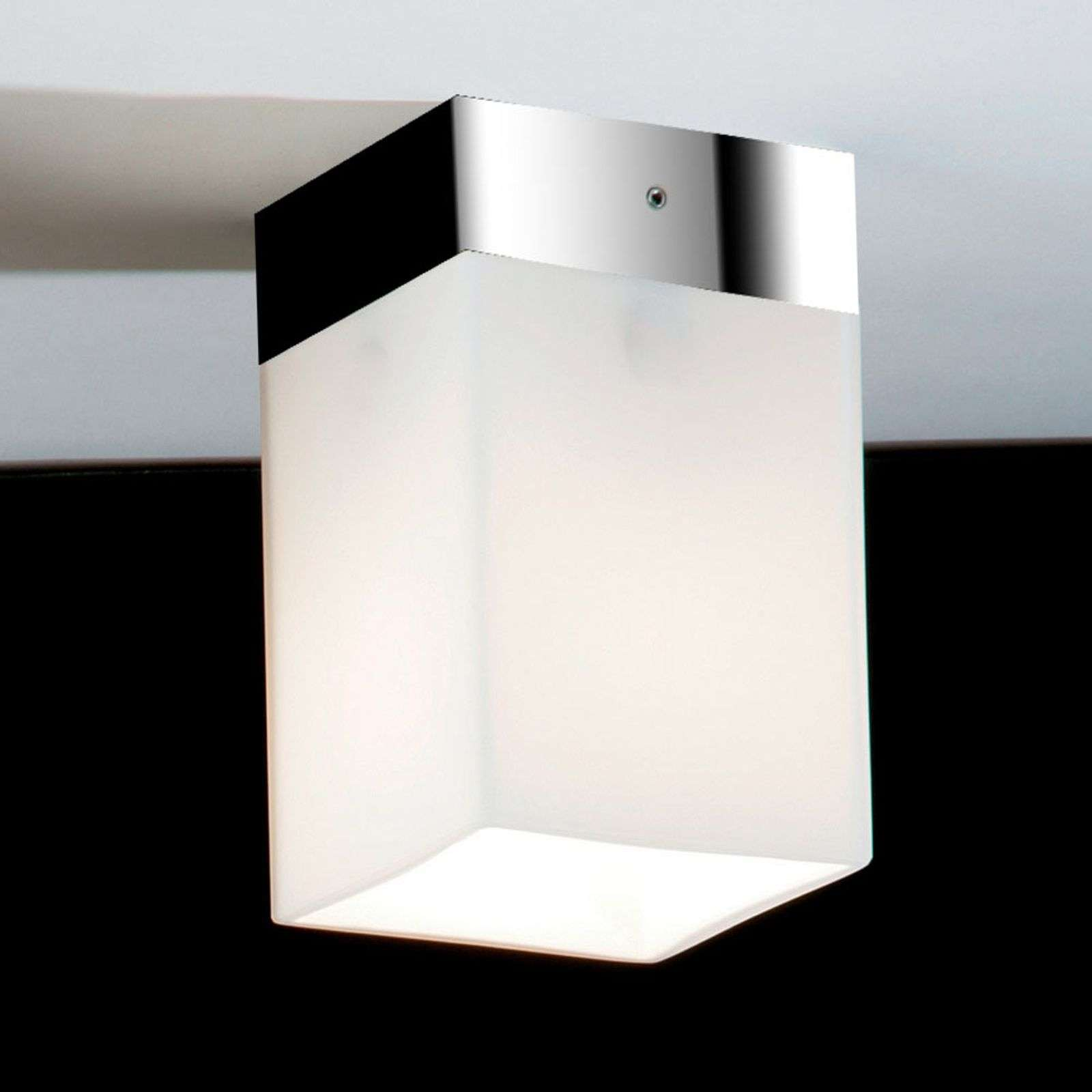 Korte plafondlamp QUADRO BOX SHORT, chroom