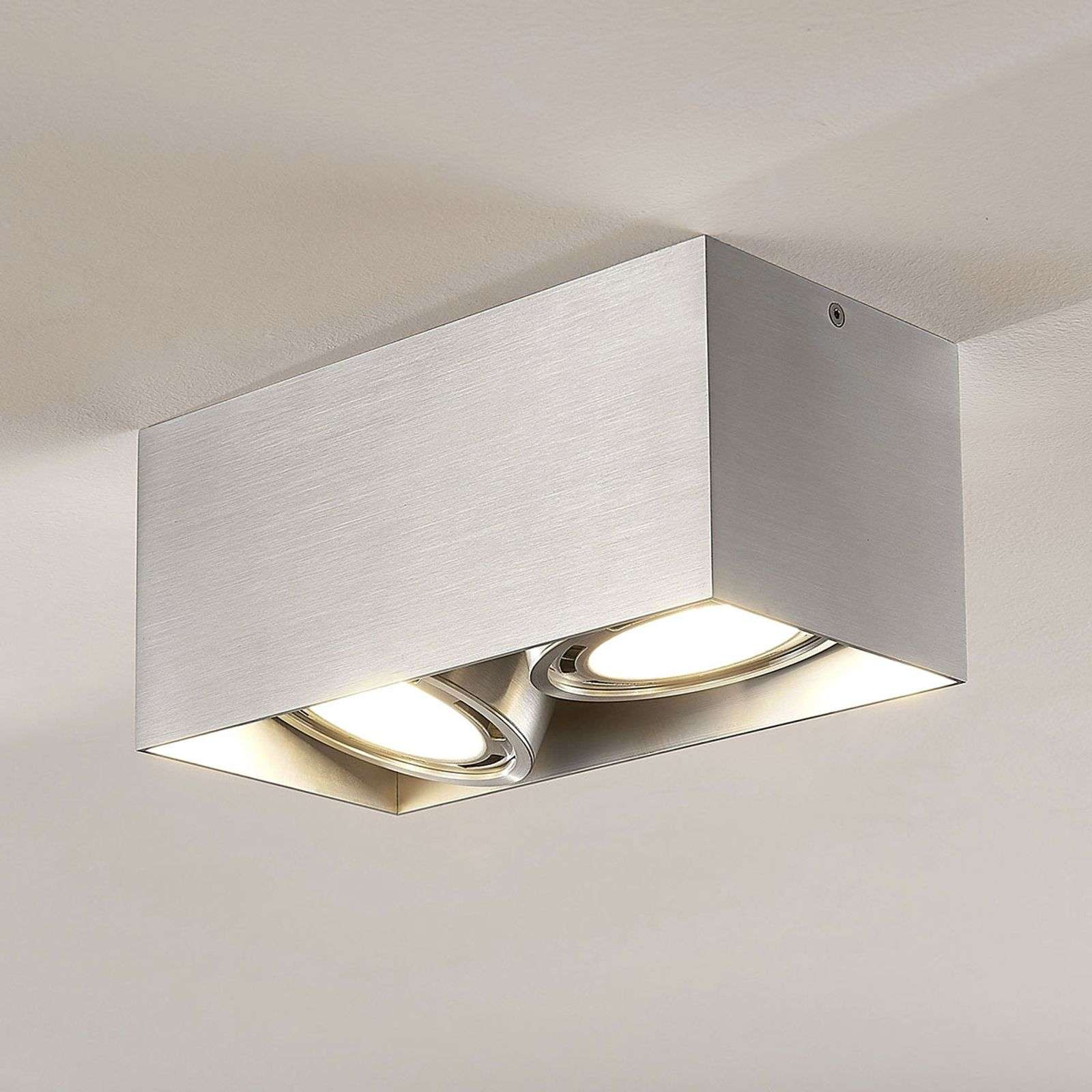LED downlight Rosalie, 2-lamps, hoekig, alu
