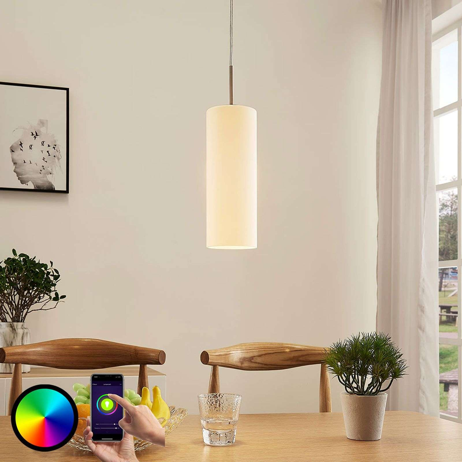 Lindby Smart LED hanglamp Felice met RGB-lamp