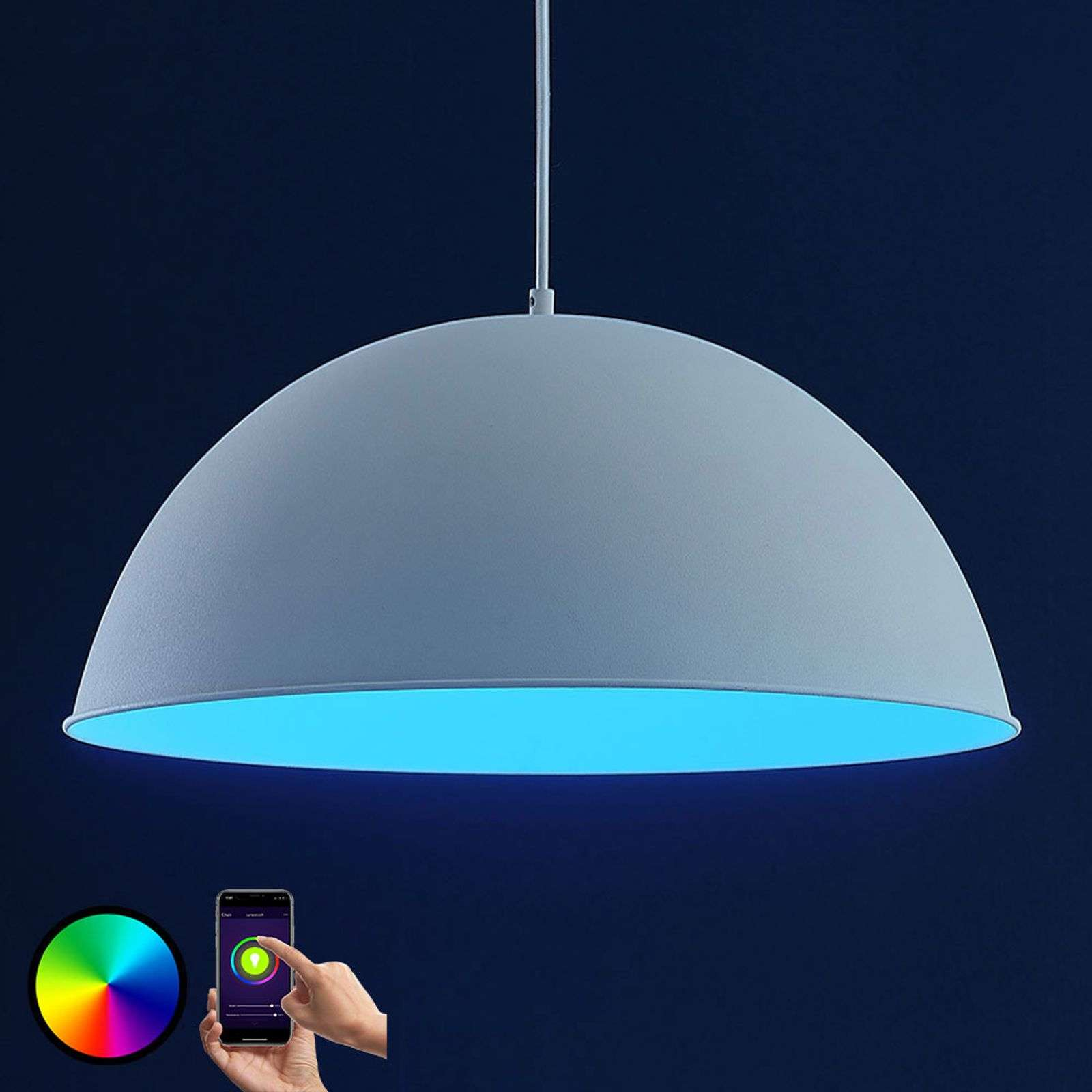 Lindby Smart LED hanglamp Bowl 51 cm wit