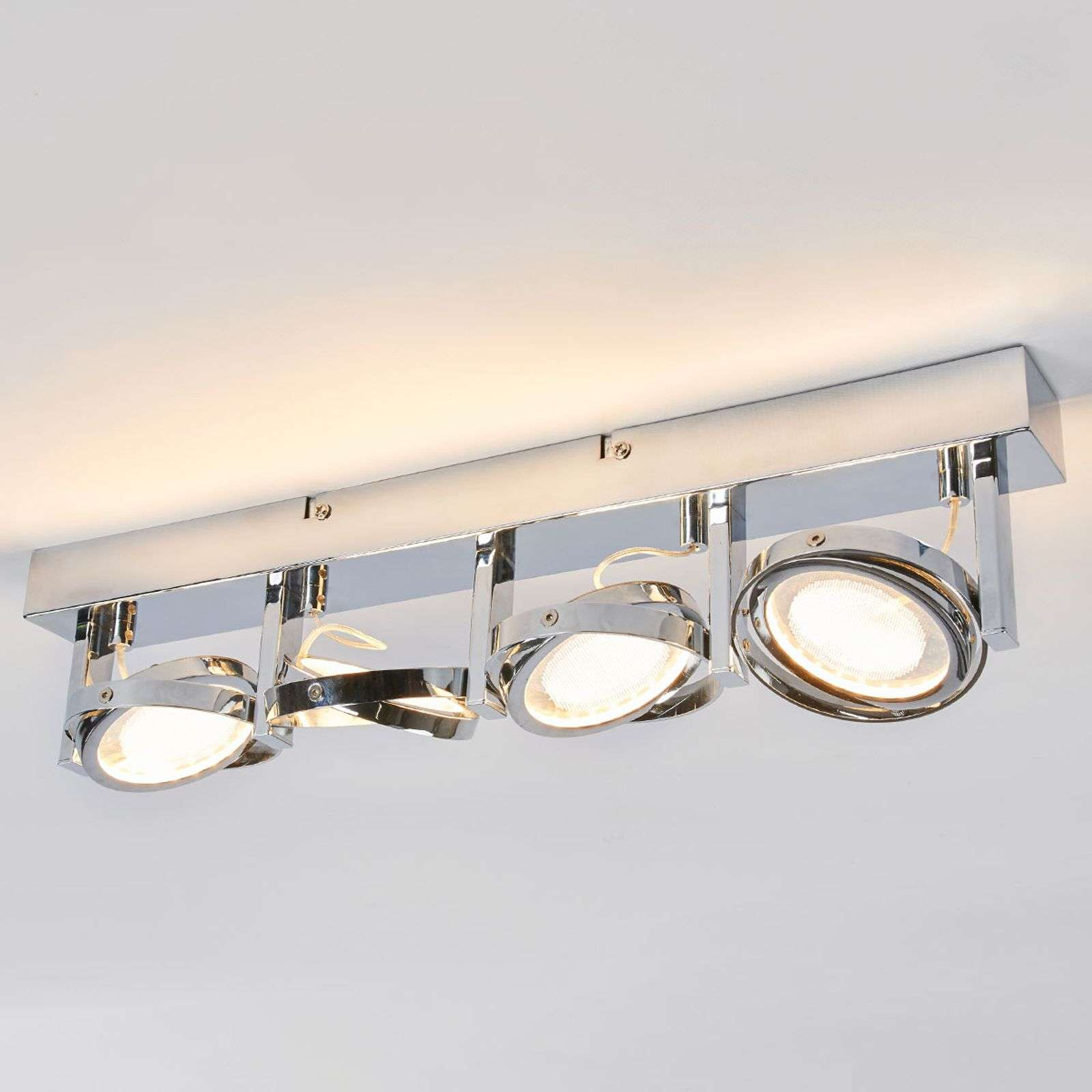 4.lamps LED plafondlamp Lionel, glanzend chroom