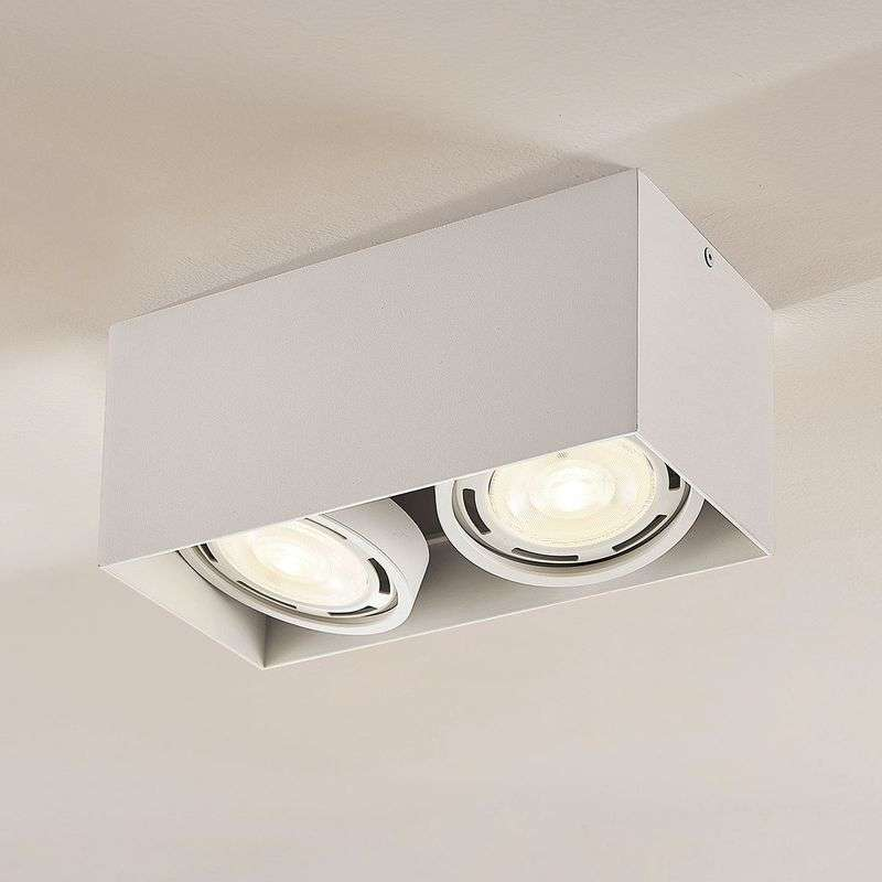 LED downlight Rosalie, 2-lamps, hoekig, wit