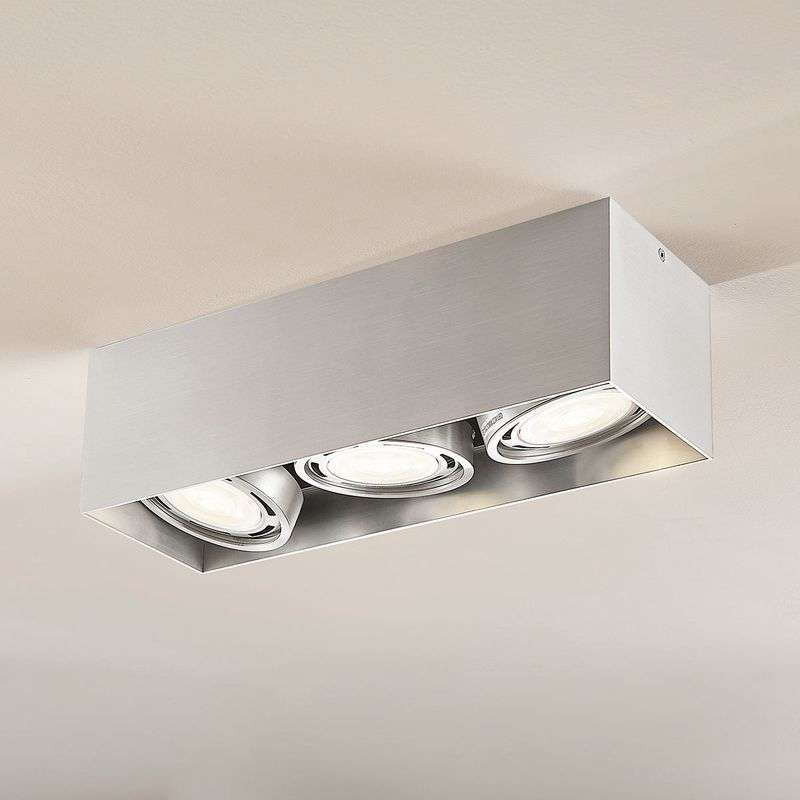 LED downlight Rosalie, 3-lamps, hoekig, alu