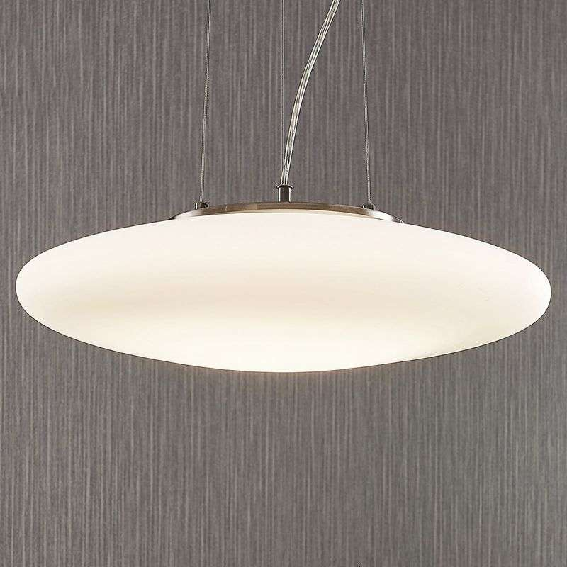 LED opaalglas hanglamp Gunda in wit