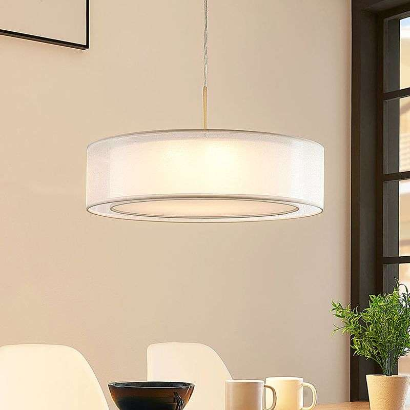 Stoffen hanglamp Amon met dimbare LED's, wit
