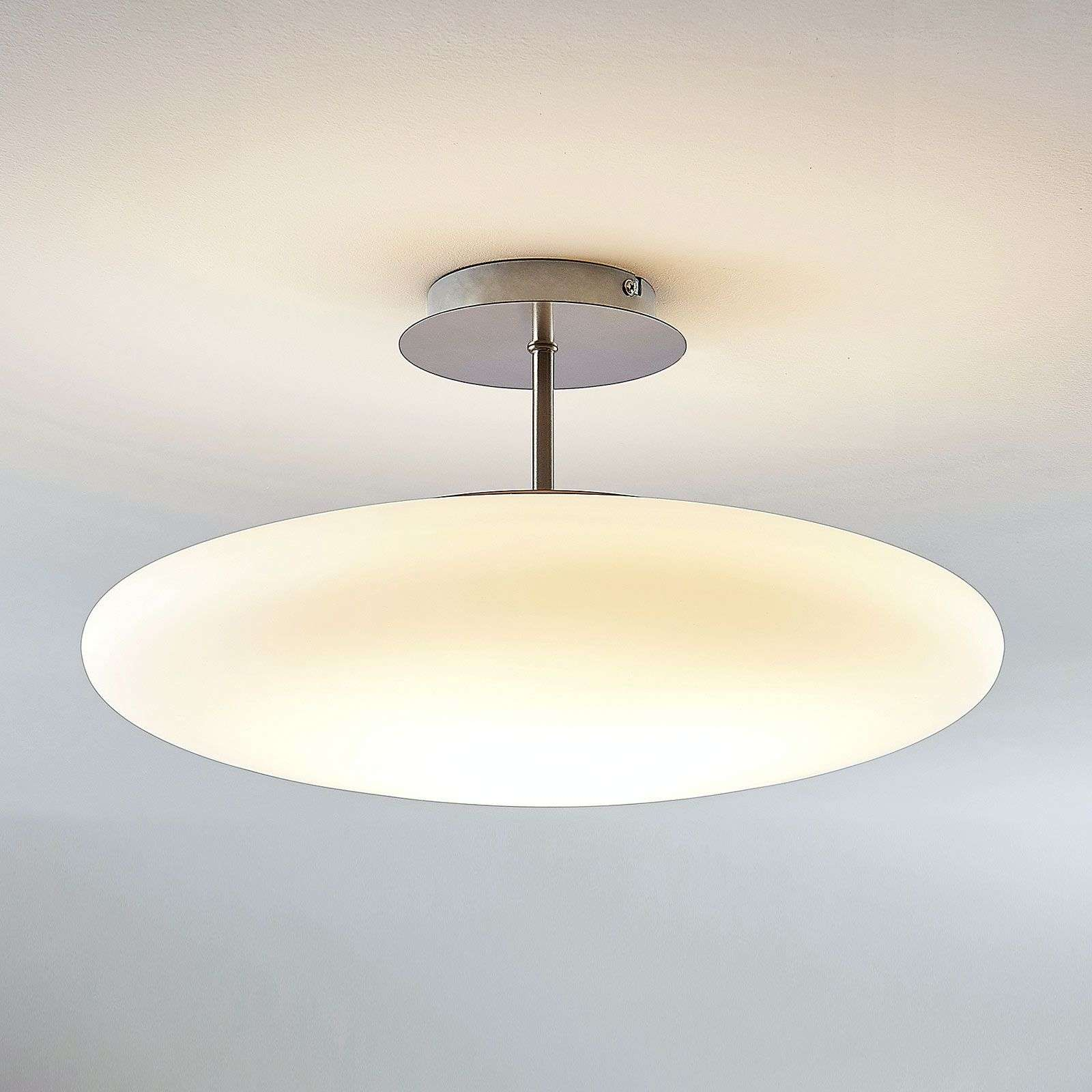 LED opaalglas plafondlamp Gunda in wit
