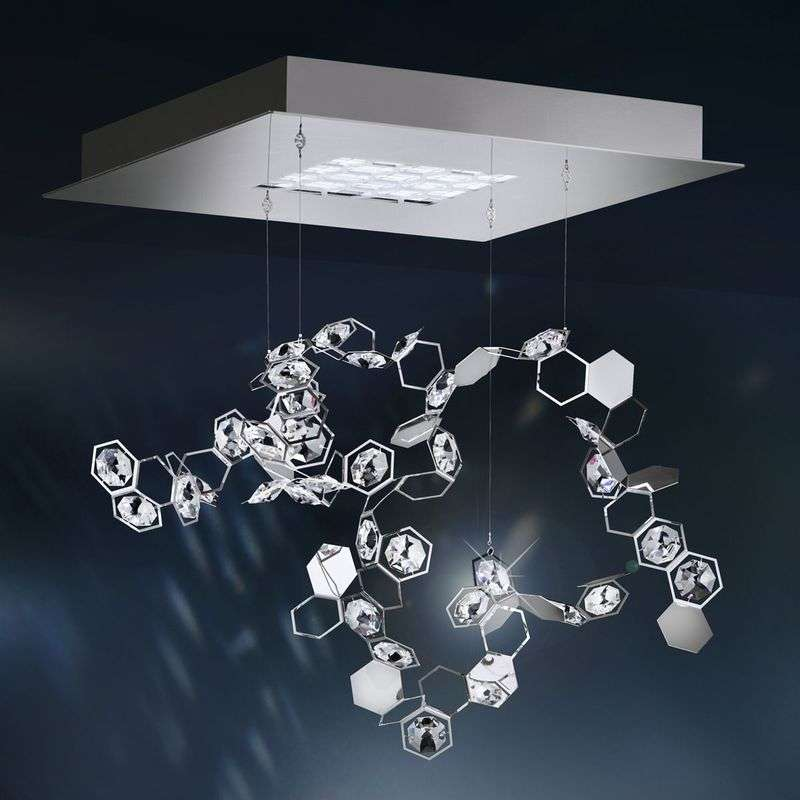 Kristallen pendellamp Crystalon met LED's, 39x39cm
