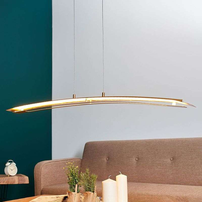 Langwerpige LED hanglamp Lolina in goud